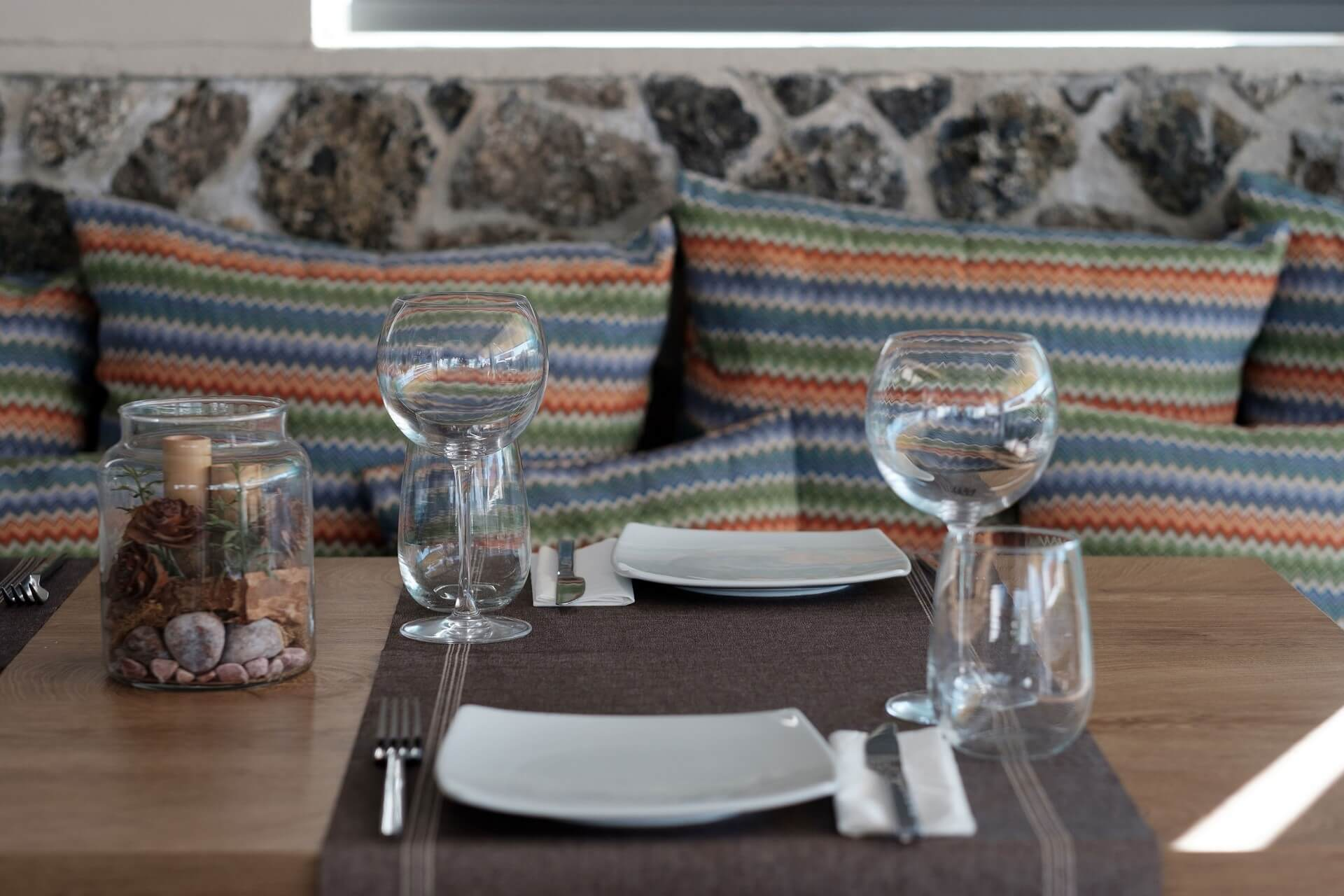 Restaurant Table Terezas Hotel Glass and Plates